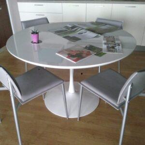 tavolo rotondo laccato bianco